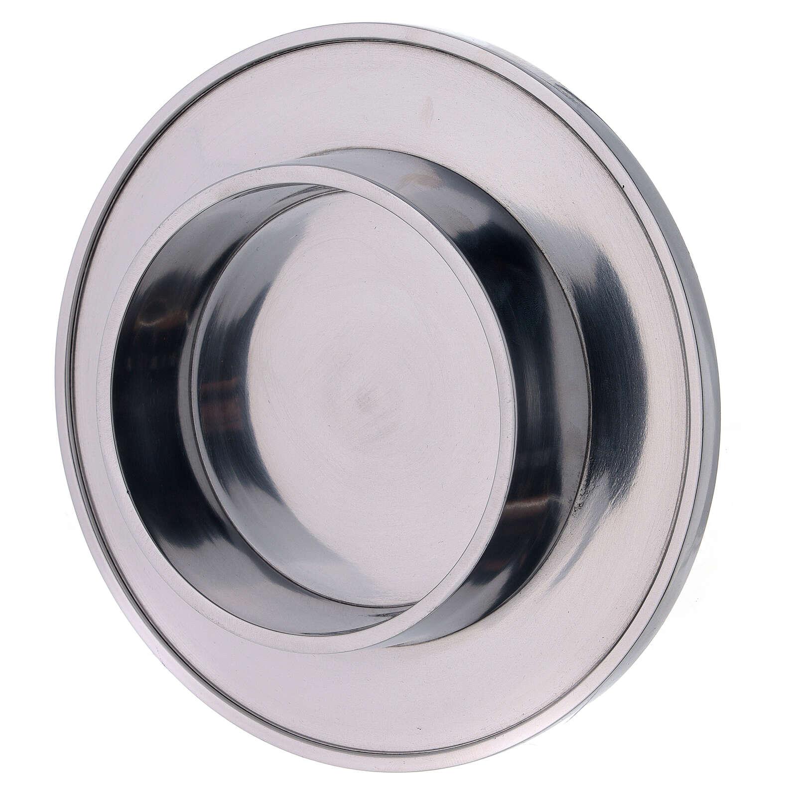 Bougeoir aluminium brillant diamètre 10 cm rond 4