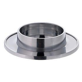 Bougeoir aluminium brillant diamètre 10 cm rond s1