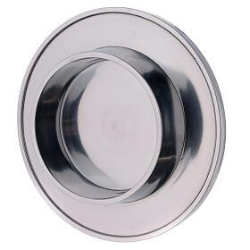 Bougeoir aluminium brillant diamètre 10 cm rond s2