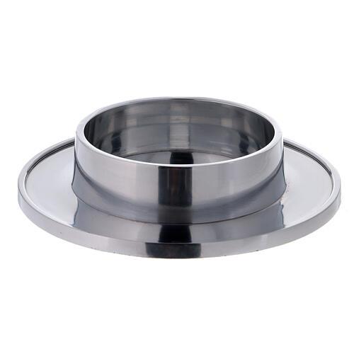 Bougeoir aluminium brillant diamètre 10 cm rond 1