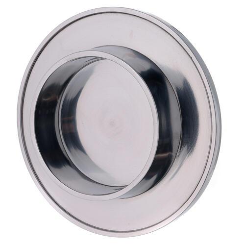 Bougeoir aluminium brillant diamètre 10 cm rond 2
