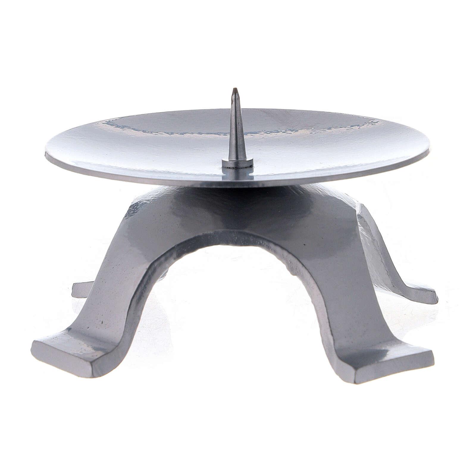 Portavela punta fina hierro lacado plata 9,5 cm 4