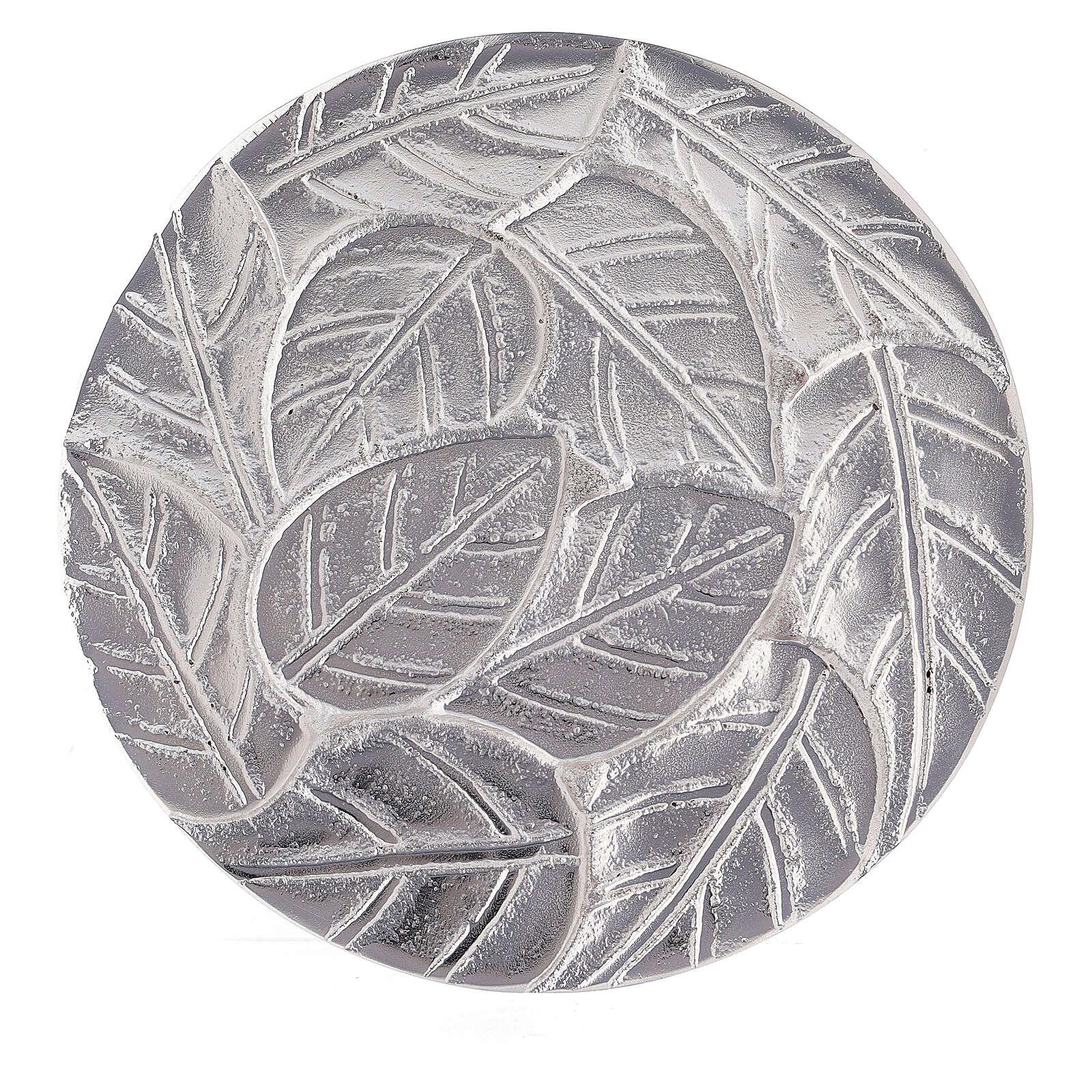 Plato portavela hojas en relieve aluminio diámetro 14 cm 3