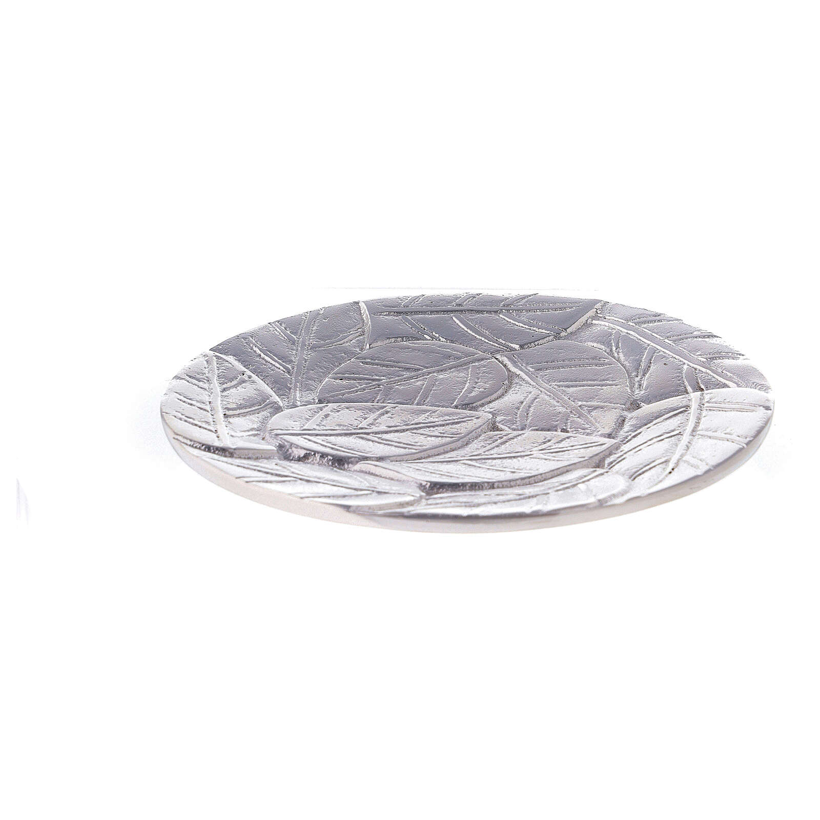 Piatto portacandela foglie a rilievo alluminio diametro 14 cm 3