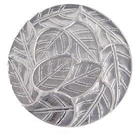 Piatto portacandela foglie a rilievo alluminio diametro 14 cm s2
