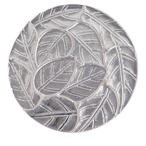Piatto portacandela foglie a rilievo alluminio diametro 14 cm 2