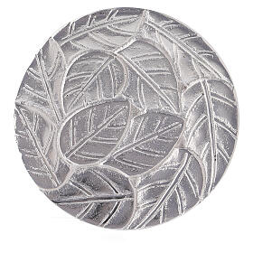 Aluminium candle holder plate with embossed leaf pattern d. 5 1/2 in s2