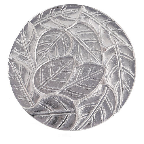 Aluminium candle holder plate with embossed leaf pattern d. 5 1/2 in 2