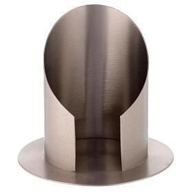 Portacandela ottone nichelato satinato apertura frontale 10 cm s1