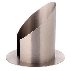 Portacandela ottone nichelato satinato apertura frontale 10 cm s2