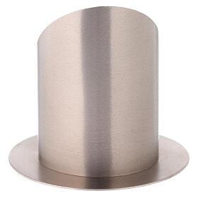 Porta-vela latão niquelado acetinado abertura frontal 10 cm s3