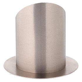 Nickel-plated brass candlestick with satin finish frontal opening 4 in s3