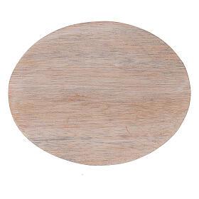 Plato portavela madera de mango claro 10x8 cm s2