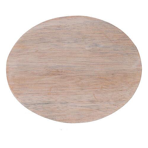 Plato portavela madera de mango claro 10x8 cm 2