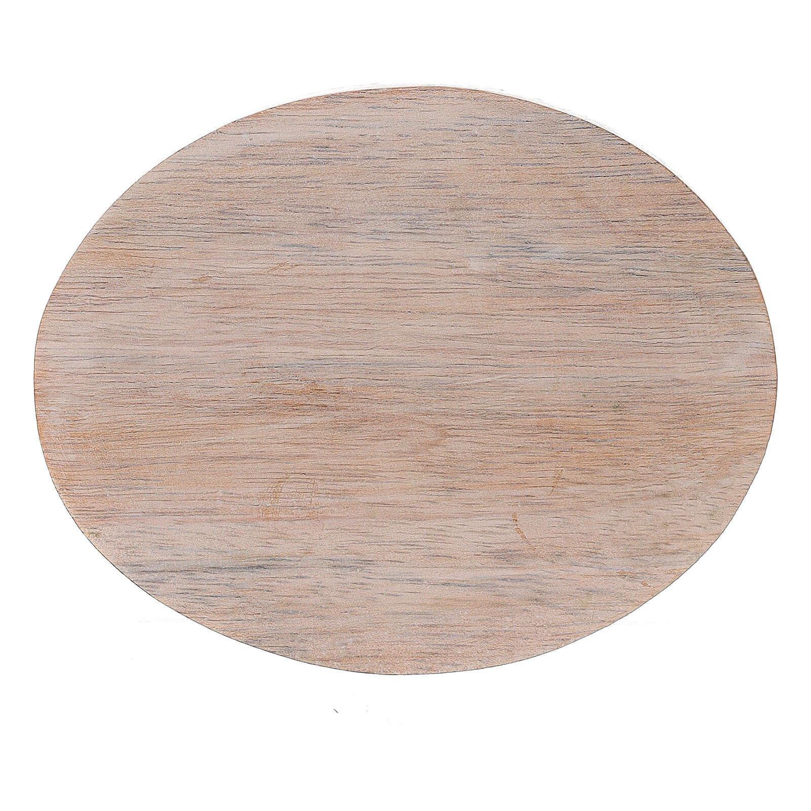 Prato porta-vela madeira de mangueira clara 10x8 cm 3