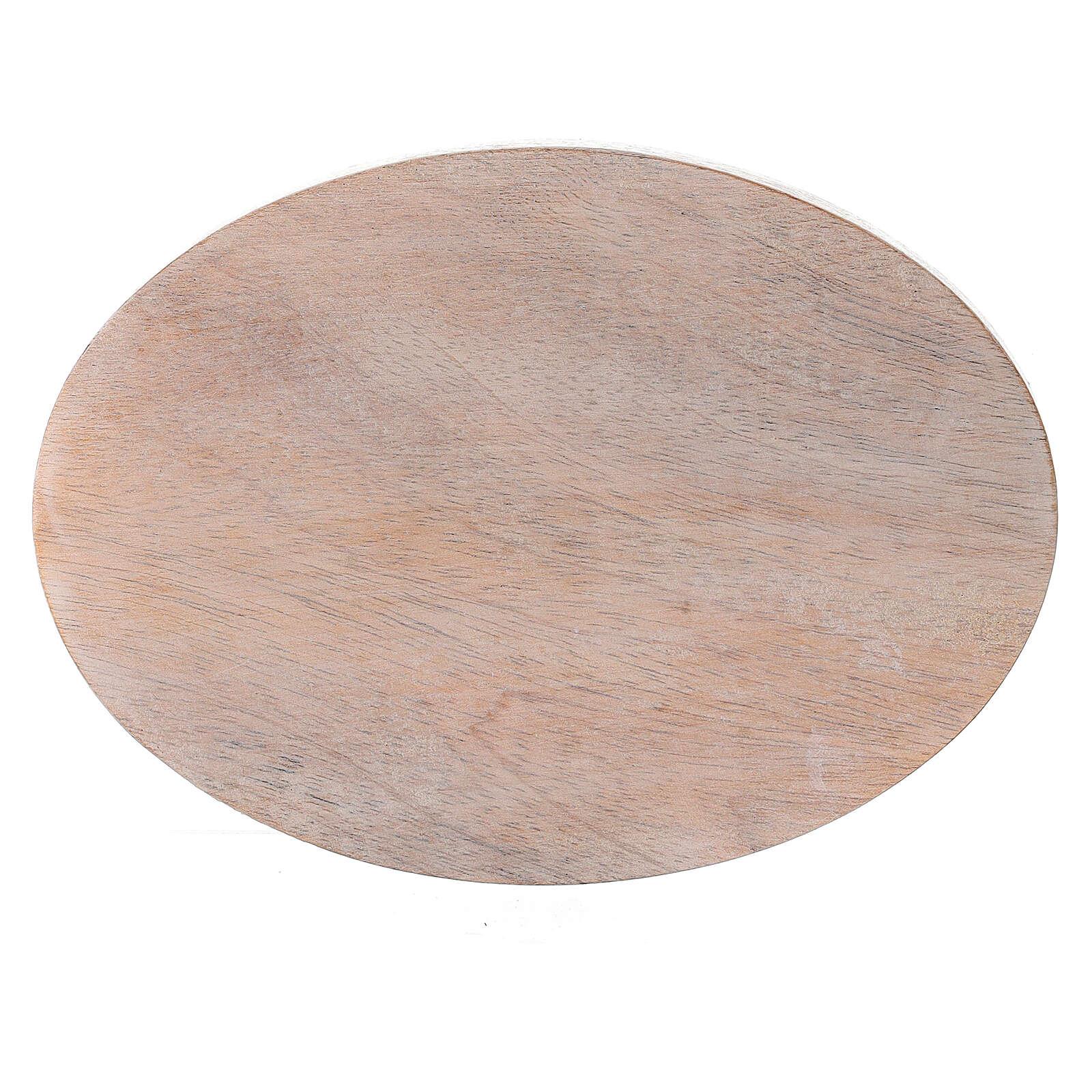 Plato portavela madera mango claro ovalado 13,5x10 cm 3