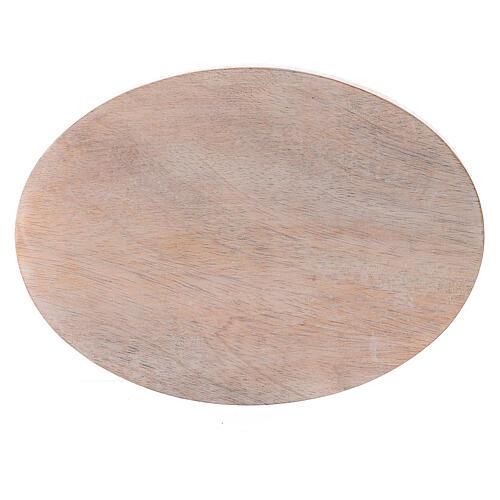 Plato portavela madera mango claro ovalado 13,5x10 cm 2