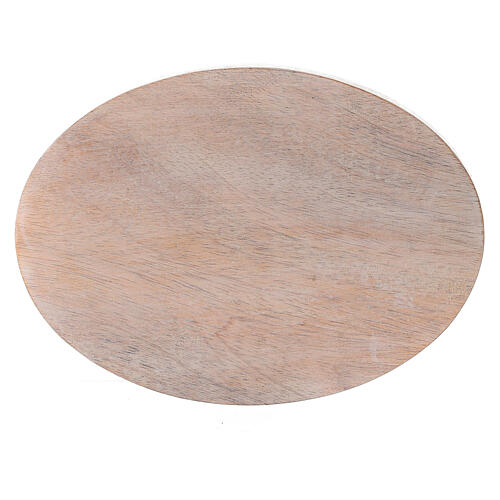 Oval pale mango wood candle holder plate 5 1/4x4 in 2