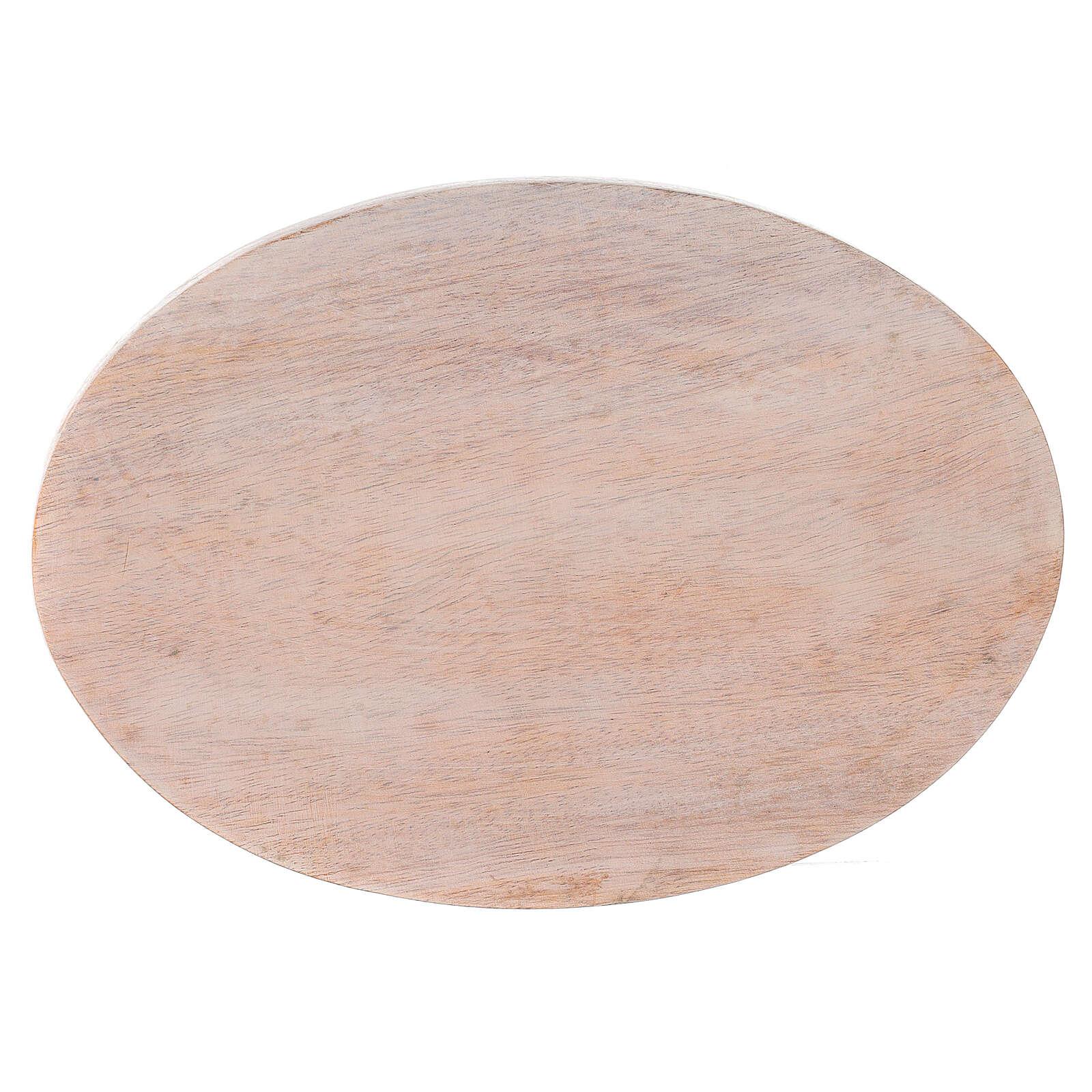 Assiette bois manguier clair bougie 17x12 cm 3