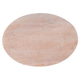 Assiette bois manguier clair bougie 17x12 cm s2