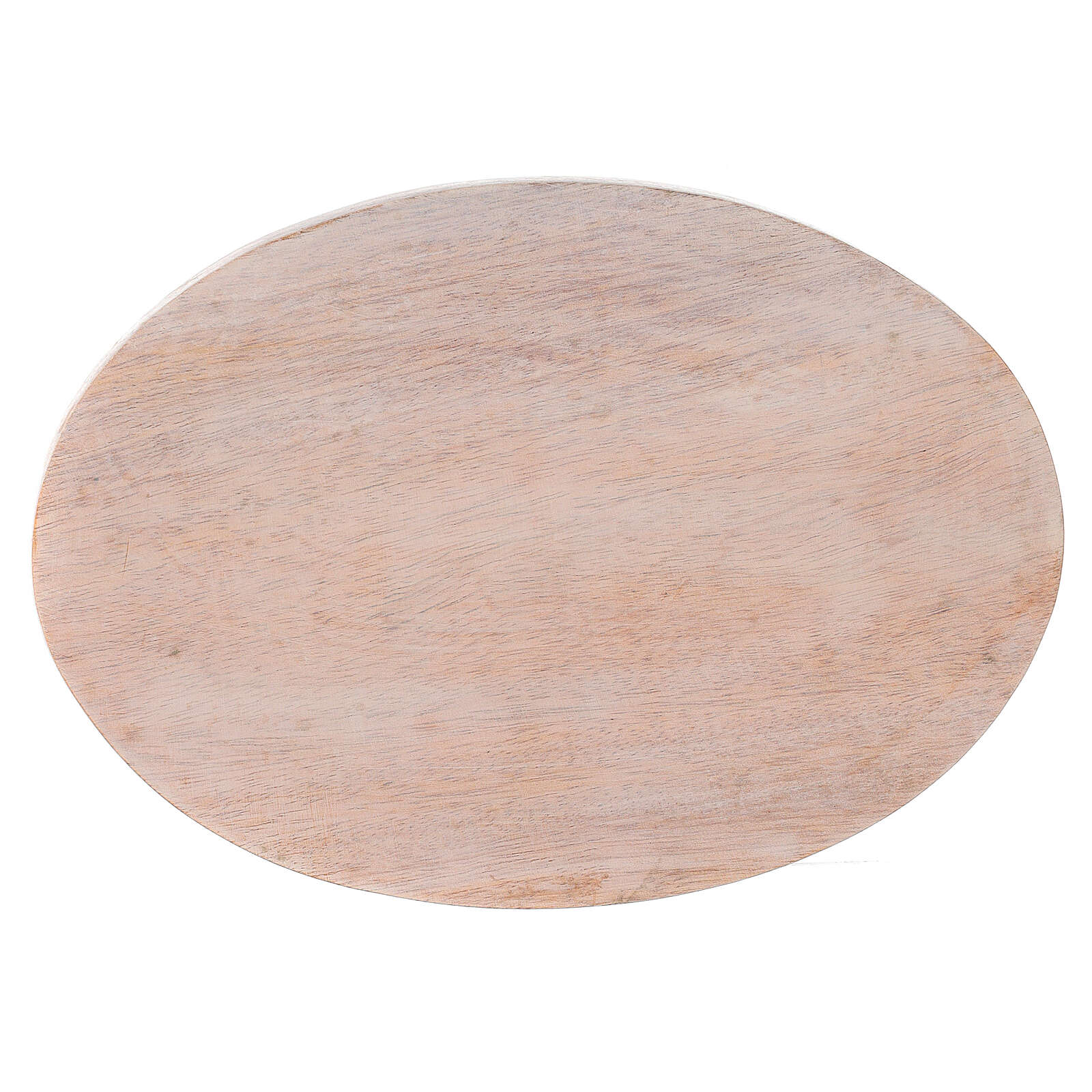 Pale mango wood plate for candles 6 3/4x4 3/4 in 3
