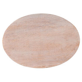 Pale mango wood plate for candles 6 3/4x4 3/4 in s2
