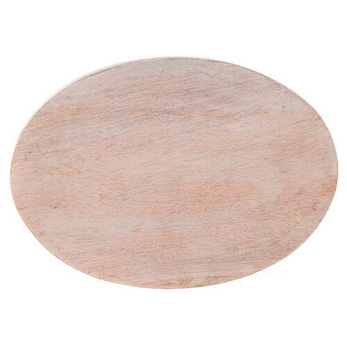 Pale mango wood plate for candles 6 3/4x4 3/4 in 2