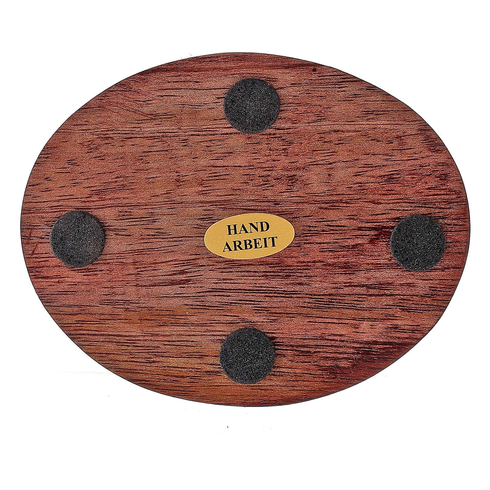 Plato portavela madera mango oscuro 10x8 cm 3