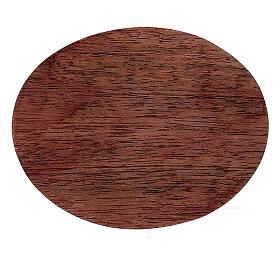 Plato portavela madera mango oscuro 10x8 cm s2