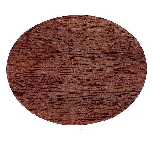 Plato portavela madera mango oscuro 10x8 cm 2
