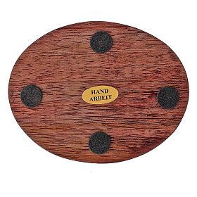 Dark mango wood candle holder plate 4x3 in s3