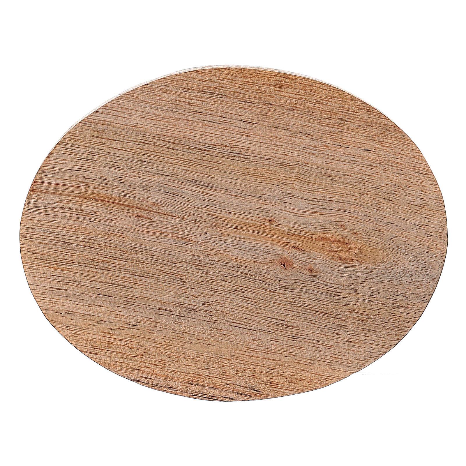 Assiette bougeoir bois manguier naturel ovale 10x8 cm 3