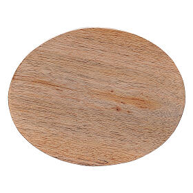 Oval natural mango wood candle holder plate 4x3 in s2
