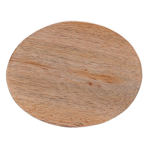 Oval natural mango wood candle holder plate 4x3 in 2