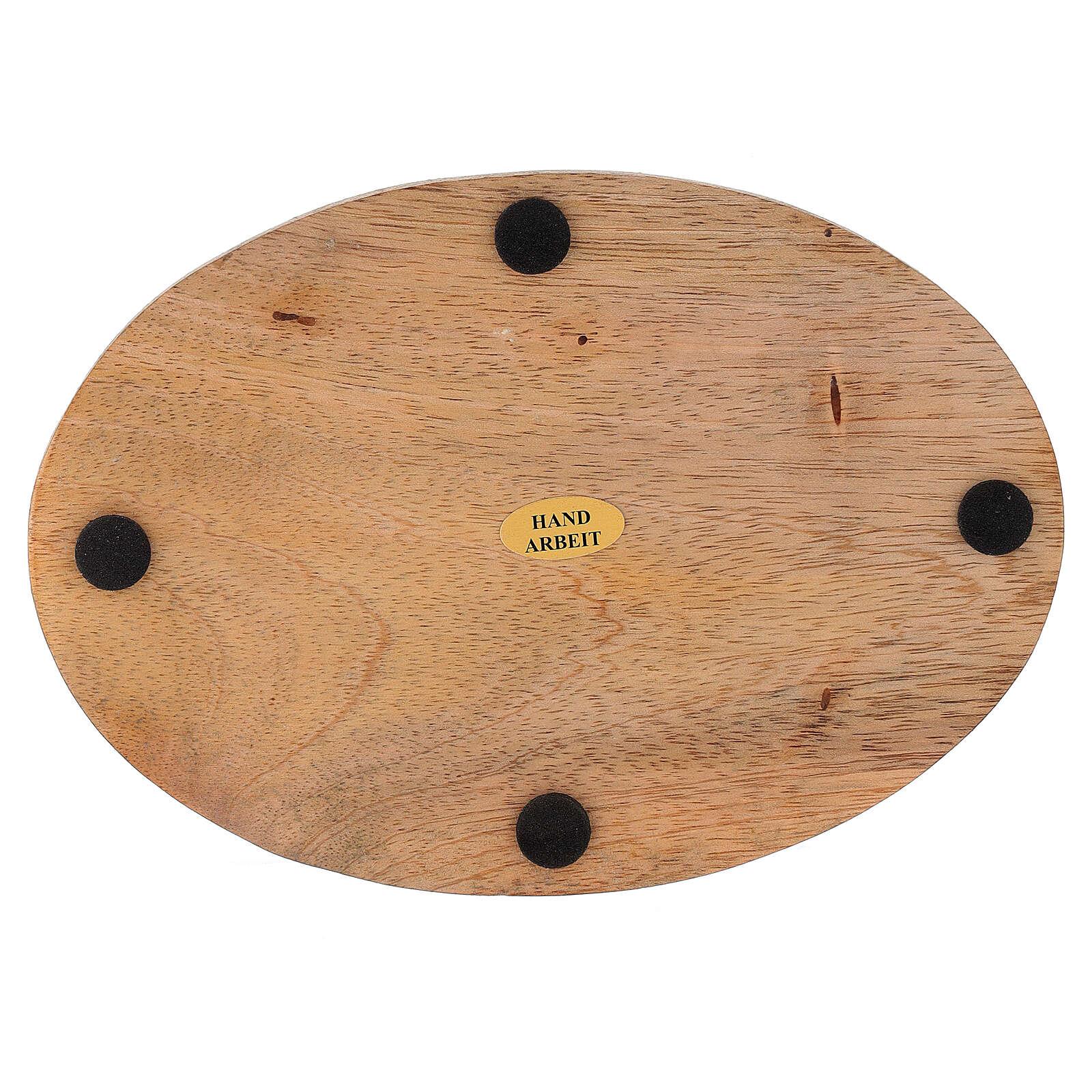 Plato portavela ovalado madera mango natural 17x12 cm 3