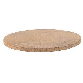 Plato portavela ovalado madera mango natural 17x12 cm s1