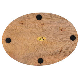 Plato portavela ovalado madera mango natural 17x12 cm s3