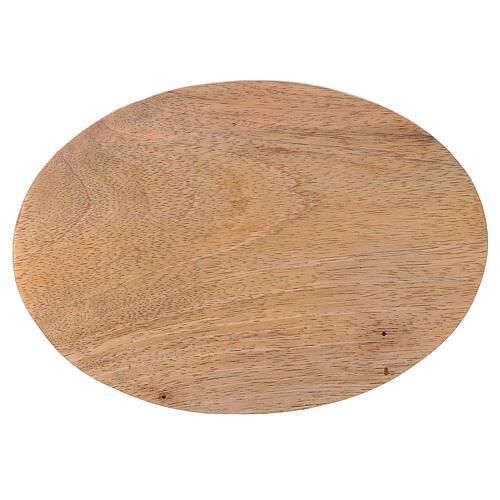 Plato portavela ovalado madera mango natural 17x12 cm 2