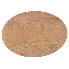 Prato porta-vela oval madeira mangueira natural 17x12 cm s2