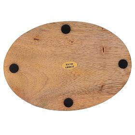 Prato porta-vela oval madeira mangueira natural 17x12 cm s3