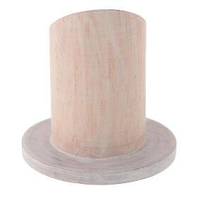Base bougie bois de manguier clair diamètre 4 cm s3