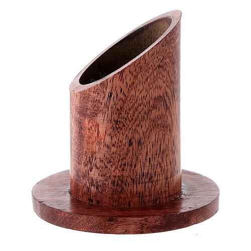 Portavela madera mango oscuro 4 cm 2