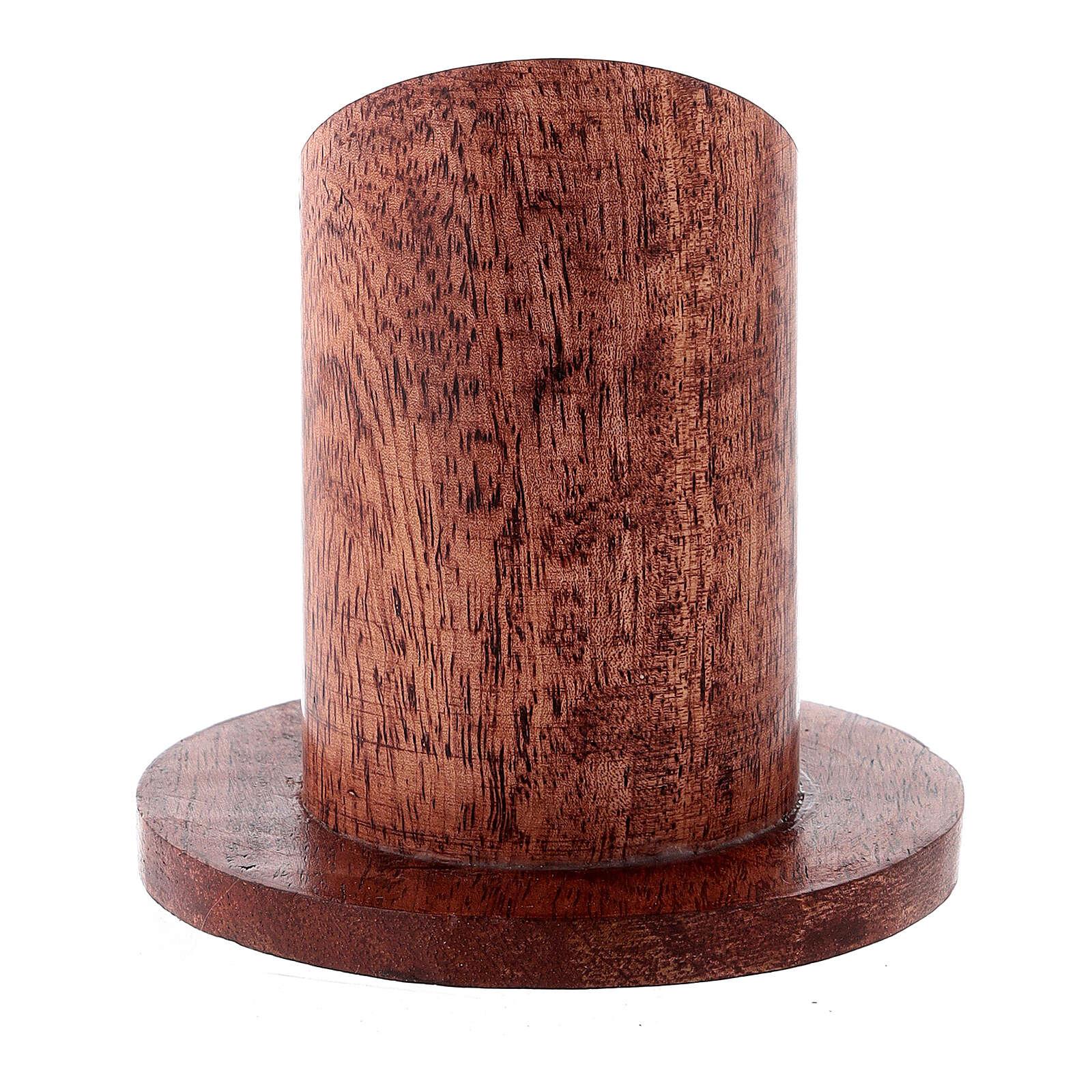 Bougeoir bois manguier foncé 4 cm 3