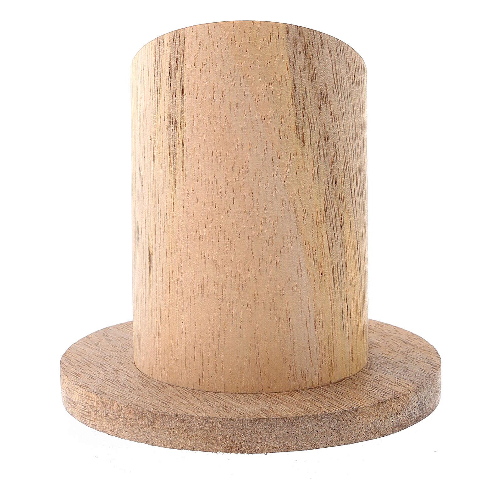 Portavela madera mango natural diámetro 4 cm 3