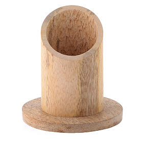 Portavela madera mango natural diámetro 4 cm s1