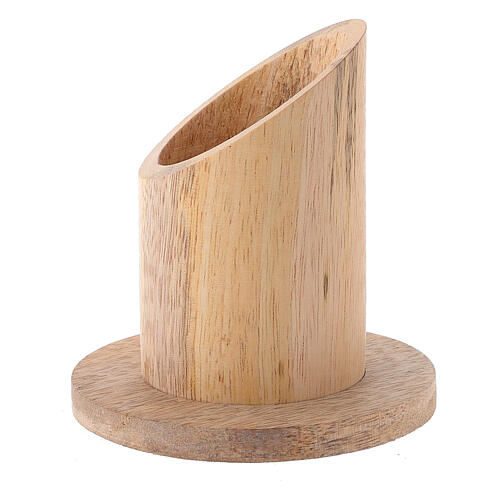 Porte-cierge bois manguier naturel diamètre 4 cm 2