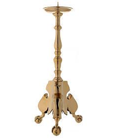Candeliere altare ottone lucido tornito h 60 cm s1