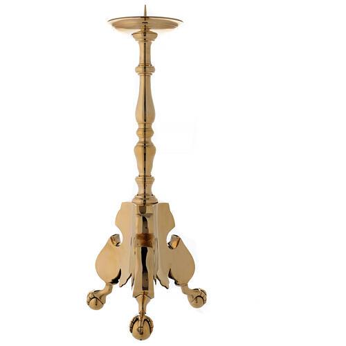 Candeliere altare ottone lucido tornito h 60 cm 1