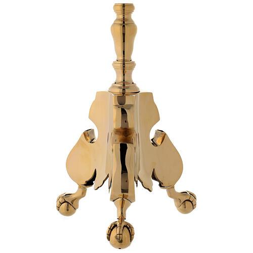 Candeliere altare ottone lucido tornito h 60 cm 4