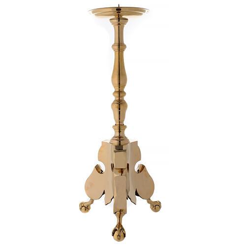 Candeliere altare tre piedi ottone lucido h 80 cm 1